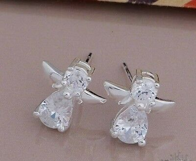 925 Sterling Silver Plated Angel Clear Crystal Stud Earrings + Free Gift Bag.