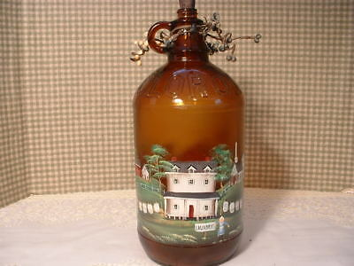 Vintage  Half Gal. Clorox Brown Bottle Painted Farm House Laundry Church By Jmd
