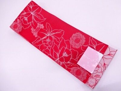 Brand new w/ tag made in Japan Yukata obi Kimono Gorgeous flowers  Red