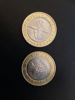 William Shakespeare £2 Pound Coin Crown and dagger, History, 2016, Mint
