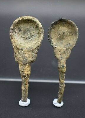 Group of 2 Ancient Bactrian bronze spoons C. 500 BC