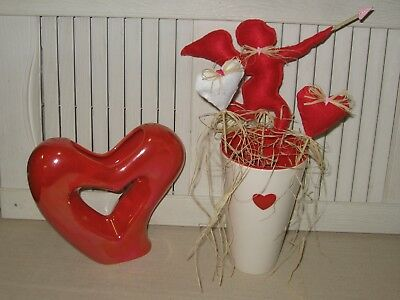 Fabric Bowl Fillers Pokes Cupid W/hearts Valentines Day Set Of 3