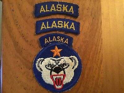 Ww2 Us Army Alaska Department W/tab Attached And 2 Extra Large Alaska Tabs