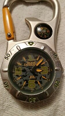 DUCK DYNASTY Belt / Backpack Keychain Camping Hiking Clip On Watch W/ Compass