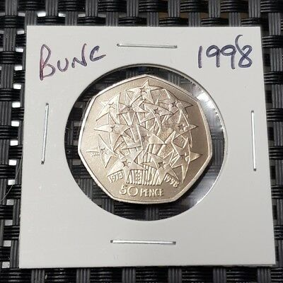 1998 Brilliant uncirculated Stars 50p Coin, Fifty Pence, Bunc/Unc/Bu