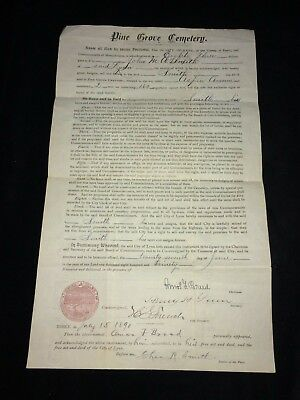 Antique 1890 Pine Grove Cemetery Burial Plot Grave Document~Lynn, Massachusetts