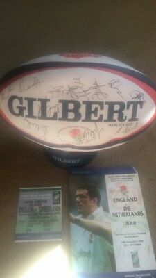 Signed England Rugby Ball Rugby World Cup 1999 Programme & Ticket