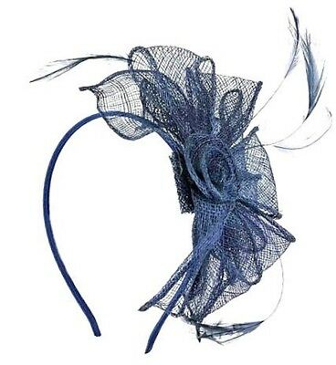 Navy Blue  Looped Hat Fascinator on Headband - Wedding Ladies Day Royal Ascot