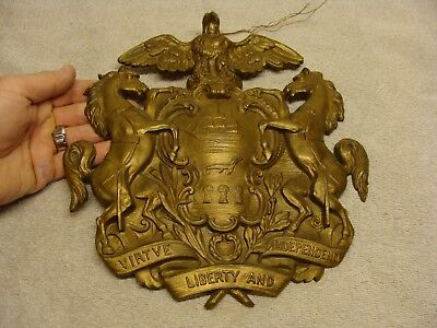 HEAVY Antique Pennsylvania STATE Seal Plaque Cast Brass Large DETAILED PA OLD