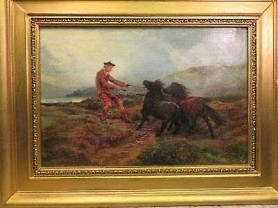 Antique English school.oil painting. Pony roundup in Scotish highlands