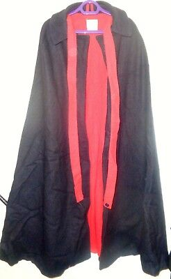 1990s Nurse's Cape Long Length Navy with Red Lining Cross Straps Wool Blend