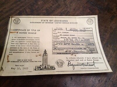 Original Vintage 1949 FORD 4 Door Louisiana Title Historical Document Rat Rod