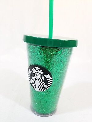 🔥 2018 Starbucks Holiday Cold Tumblers Cup  With Tag Green Glitter NEW 16 Oz