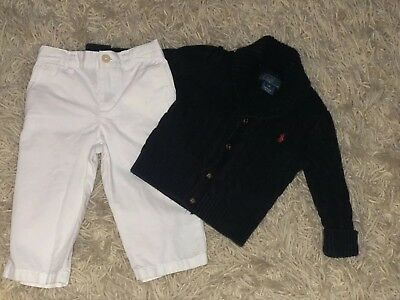 Lot of 2 Polo Ralph Lauren Polo Infant Boy Knit Sweater White Chinos Pants 12M