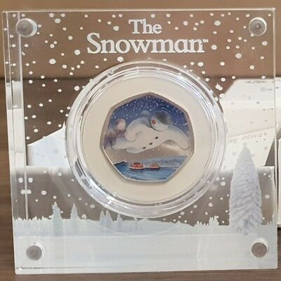 2018 ROYAL MINT 40th ANNIVERSARY OF THE SNOWMAN SILVER PROOF 50p COIN