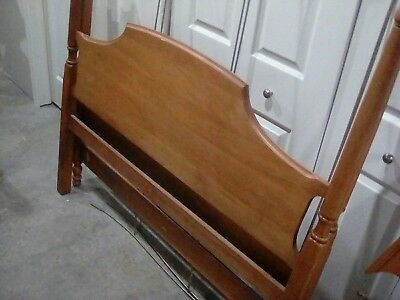 1960s  Ethan Allen Solid Oak Queen Size canopy bed w mirror!