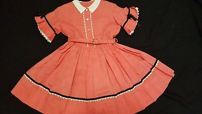Vtg 1950's? Little Girls I Love Lucy Look Belted Bell Sleeve Collar Dress 4-5-6?
