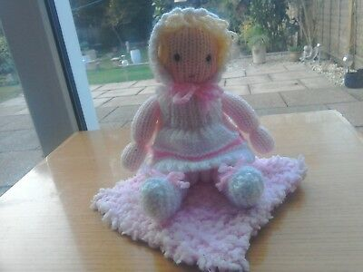 Handknitted Little Baby Doll With Removable Clothes And Snuggly Blanket
