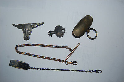 Vintage Hickok Beltogram Fob, Watch Fob, Bolo Neck Tie Steer, Key, and Unknown