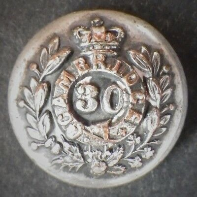 30th Cambridgeshire Regiment Of Foot Victorian Officers Silver Plate button