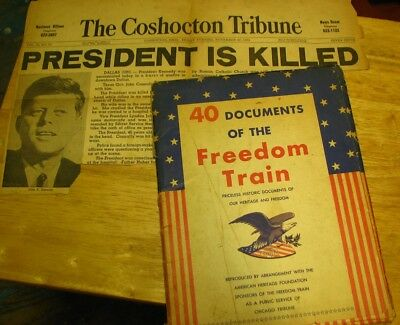 40 Documents of the Freedom Train, newspaper clipping President Kennedy's death