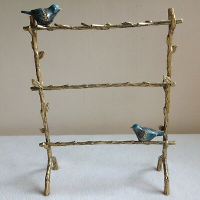 Gilt Branches And Enamel Turquoise Birds Jewelry Stand, All Metal