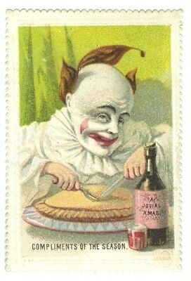 Xmas Greeting card. Clown Tucking into a Pie and a Glass of ale c.1860s