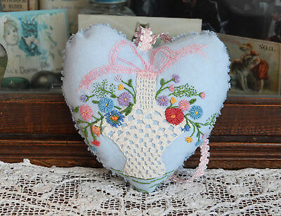 Vintage Hand Embroidered and crocheted Heart Pillow, Sachet lavender Valentine