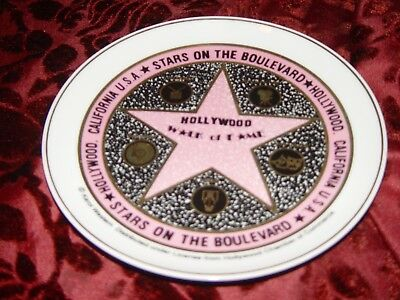 """Hollywood Walk Of Fame Stars On The Boulevard Souvenir 7 1/4"""" Plate"""