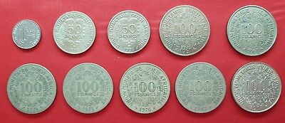 African Western States 10 Coins , 1 , 50 , 100 Francs 1967 - 1997