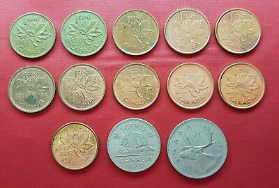 Canada 13 Coins , 1 , 5 , 25 Cents , 1965 - 2012