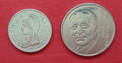 France 2 Commemorative Coins , 1 & 5 Francs 1992