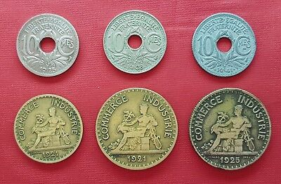 France 6 Coins , 10 Centimes , 1 , 2 Francs 1921 - 1941