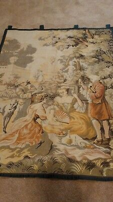 "Antique Tapestry Wall Hanging Made in France 56"" X 38"" Victorian scene"