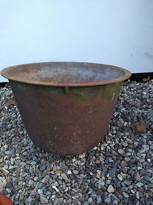 Large Antique cast iron kettle couldron wash pot architectural salvage scaulding
