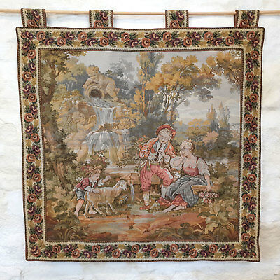 "French Cherubs Chateau Garden Tapestry Wall Hanging 88x93cm (2'11""x3'1"" Antique)"