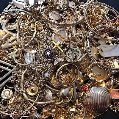 Lot Of 950 Grams Gold Tone Plated Filled Jewelry For Scrap Gold Recovery Craft