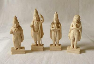 Four Antique Late 19Th Early 20Th Century Indian Carved Deity Figures Hanuman