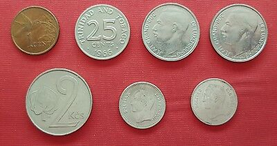 Lot Mix Different 7 Coins ,Trinidad & Tobago ,Venezuela ,Luxembourg ,Czech #2