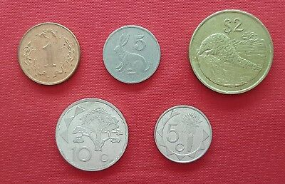 Lot Mix Different 5 Coins , Zimbabwe & Namibia , #3