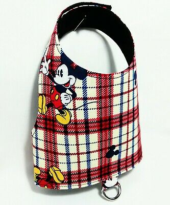 Mickey Mouse Plaid Red Blue XS Male Dog Cat Pet Harness Vest Disney Clothing