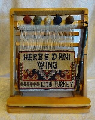 Vtg Sm Display Wooden Tapestry Loom Persian Izmir Turkish Wool Rug Personalized