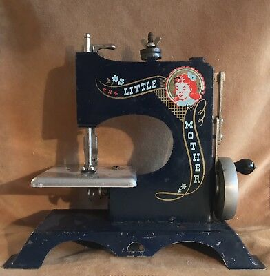 Vintage Toy Sewing Machine With Case Little Mother Artcraft Metal Products 1950s