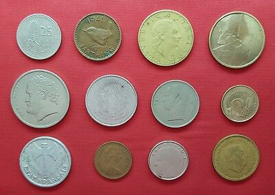 Lot Mix Different 12 Coins ,Cyprus ,UK ,Spain ,Brazil ,France ,Italy & more #8