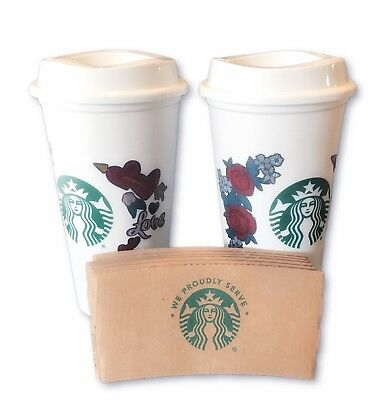 Starbucks Valentine's Day 2019 Love Heart Reusable Cups Grande 16 oz and Sleeves