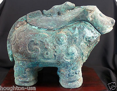 RARE Ancient Chinese Bronze Ox Wine Storage Vessel ( Xi Zun) Shang Dynasty