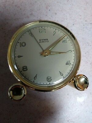Vintage Cyma Amic Swiss 10 Jewel Miniature Alarm Clock