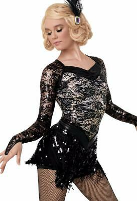 Dance Costume Small Med Large Adult Black Lace Fringe Jazz Solo Competition TRIO