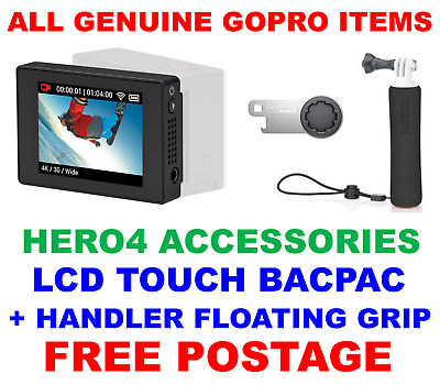 Genuine Official Gopro Hero 4 Lcd Touch Bacpac, Handler Floating Grip + Tool