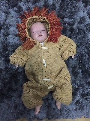 Handmade Crochet Baby Lion Hooded Onsie Coat Photo Props 3-6 Months
